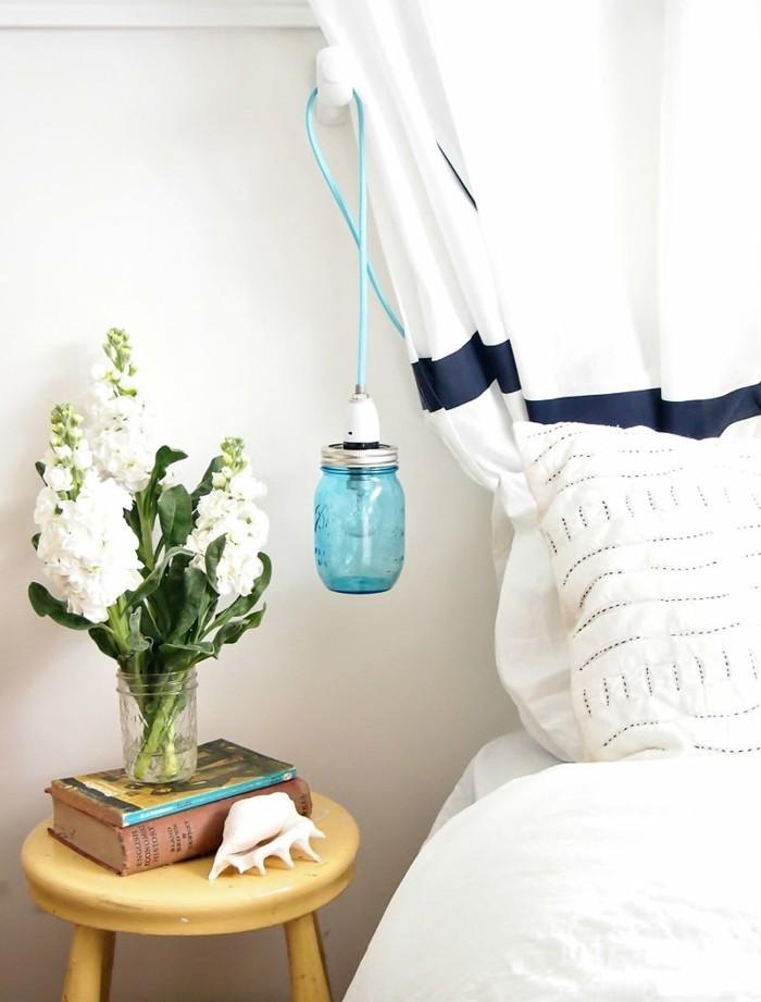 diy ideen einmachgläser hängelampe wohnideen schlafzimmer