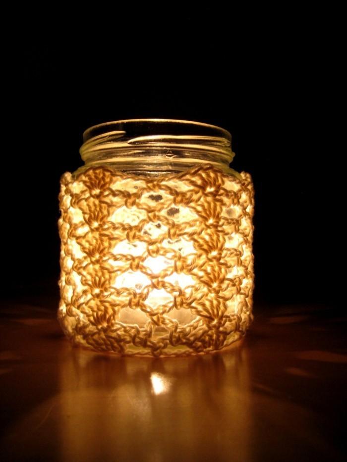 diy ideen einmachgläser verkleiden leuchte basteln