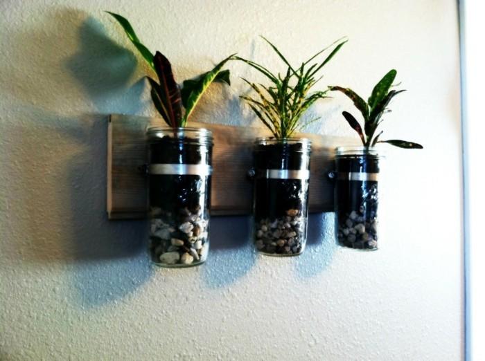 diy ideen einmachgläser wand dekorieren steine pflanzen