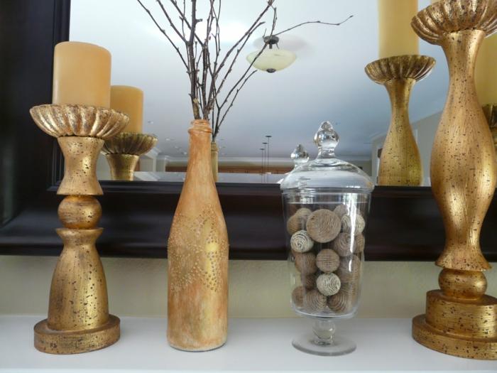 diy ideen flaschen dekorieren golden schick