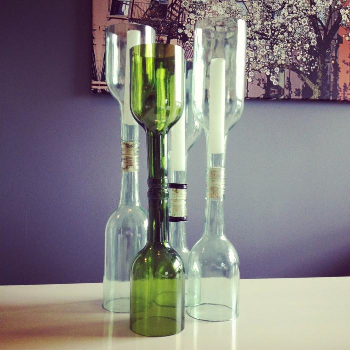 diy ideen flaschen kerzenhalter bastelideen