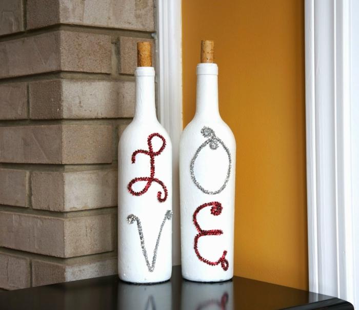 diy ideen flaschen weiß streichen botschaft dekoideen