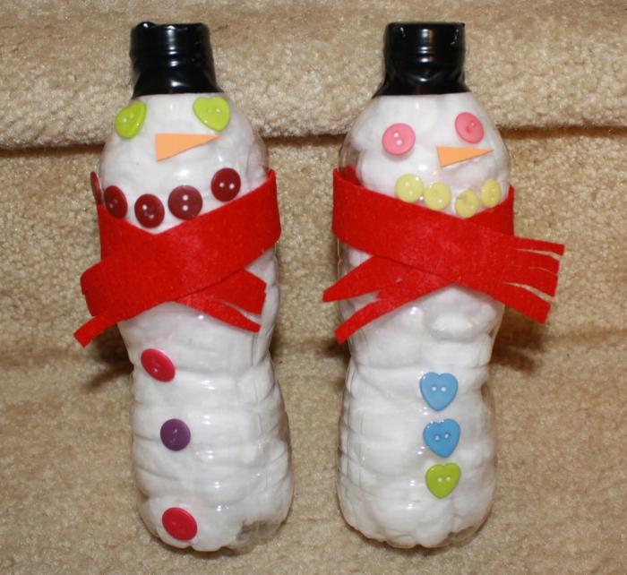 diy ideen plastikflaschen dekorieren schneemänner