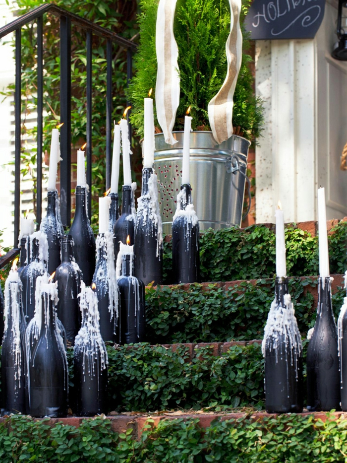 diy ideen weinflaschen kerzenhalter treppenhaus dekorieren