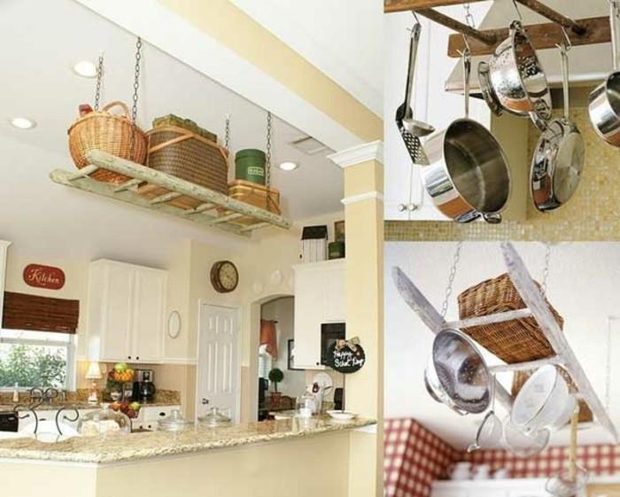 Upcycling Ideen einrichtungbeispiele deko ideen diy ideen holzleiter indirekte beleuchtung küche