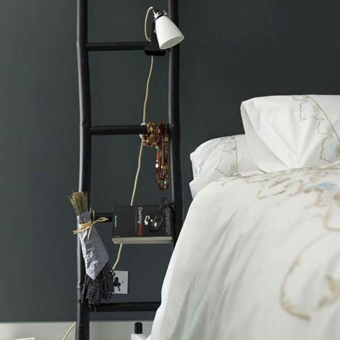 Upcycling Ideen einrichtungbeispiele deko ideen diy ideen holzleiter indirekte beleuchtung schlafzimmer