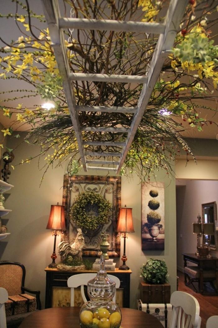 Upcycling Ideen einrichtungbeispiele diy ideen holzleiter indirekte beleuchtung wandregal dekorativ