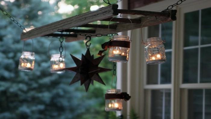 Upcycling Ideen einrichtungbeispiele deko ideen diy ideen holzleiter indirekte beleuchtung