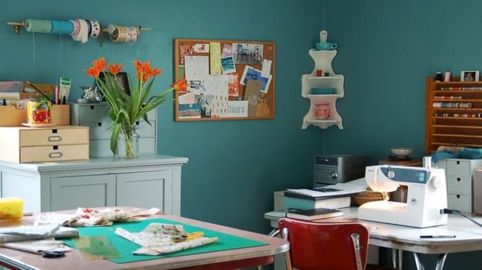 einrichtungsbeispiele deko ideen wohnideen DIY ideen naehzimmer trendfarben