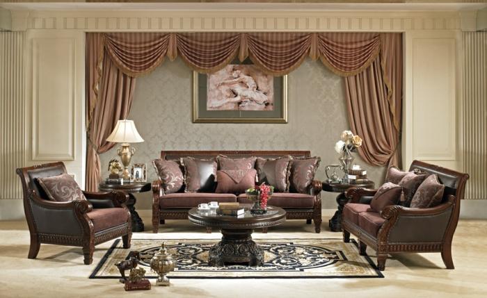 Einrichtungsideen Wohnzimmer Braune Gardinen Schicke Wandtapete