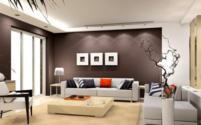 Einrichtungsideen Wohnzimmer Braune Wände Beige Sofas Minimalistischer  Couchtisch