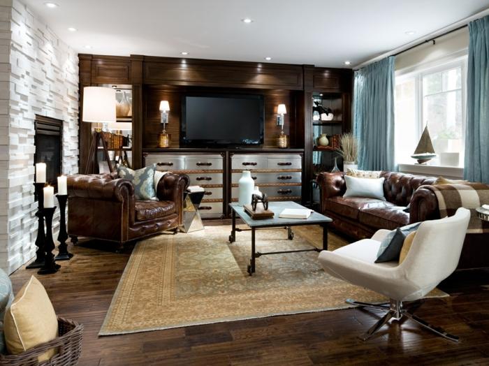 einrichtungsideen wohnzimmer einrichten braune ledermöbel beiger teppich einbauleuchten