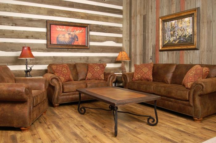 https://freshideen.com/wp-content/uploads/2016/07/einrichtungsideen-wohnzimmer-einrichten-rustikal-holzboden-wandpaneele.jpg - Wanddesign Wohnzimmer