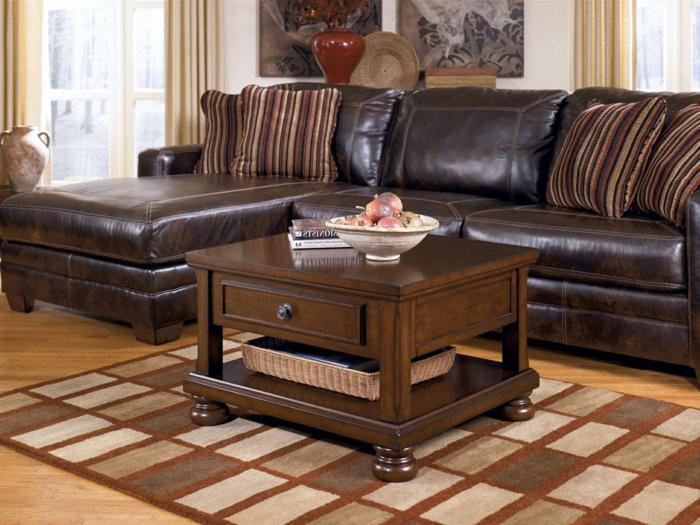 einrichtungsideen wohnzimmer gestalten braune ledermöbel schöner teppich
