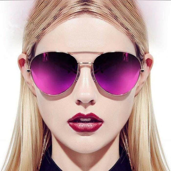 farbige reflektierende Sonnenbrillen Damen Modetrends Accessoires