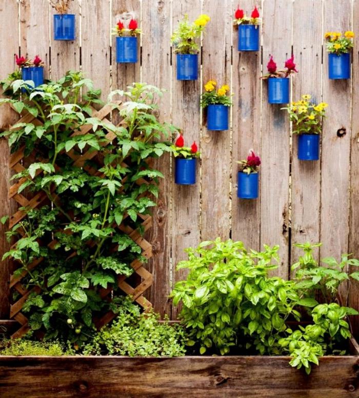 gartengestaltung ideen gartenideen diy dekoideen blechdosen bemalen topfblumen gartenpflanzen