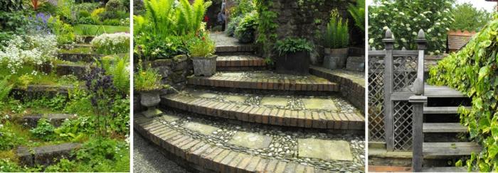 gartengestaltung ideen gartentreppe natursteine holz