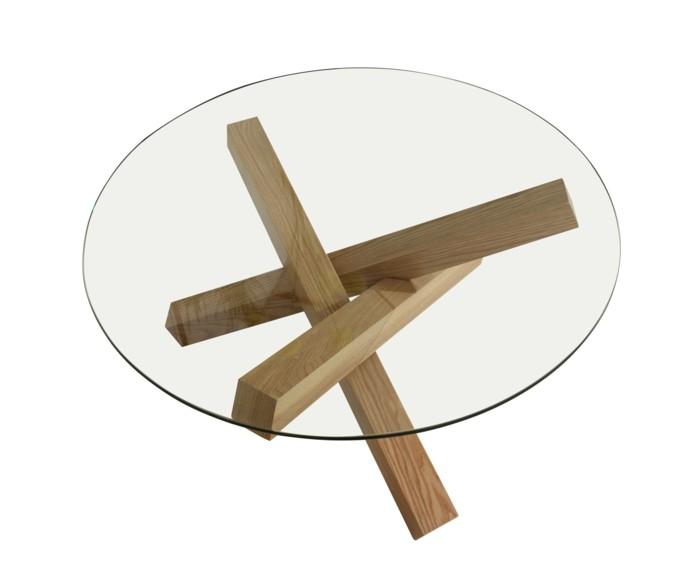 glastisch einrichtungsbeispiele- wohnideen deko ideen rund holzbeine