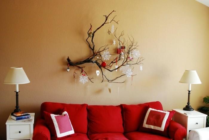 inneneinrichtung dekoideen zweige wiehnachten wohnzimmer