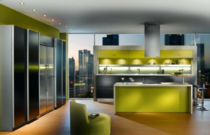 küchenmöbel grüneküchenschränke led beleuchtung panoramafenster