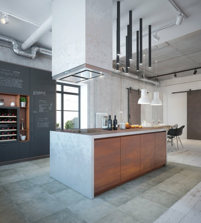 küchenmöbel kücheninsel küchenschränke graue bodenfliesen hängelampen