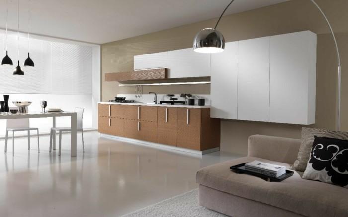 küchenmöbel küchenschränke weiß essbereich hängelampen