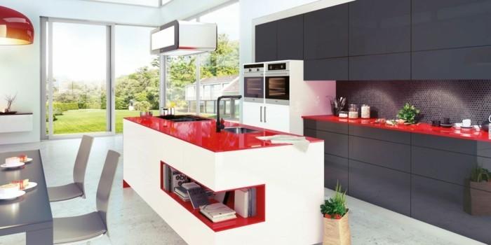 küchenmöbel moderne küchenschränke ausgefallene kücheninsel weiß rot