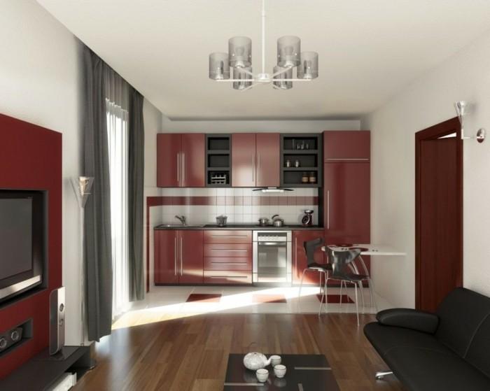 küchenmöbel rote küchenschränke kleie küche graue gardinen