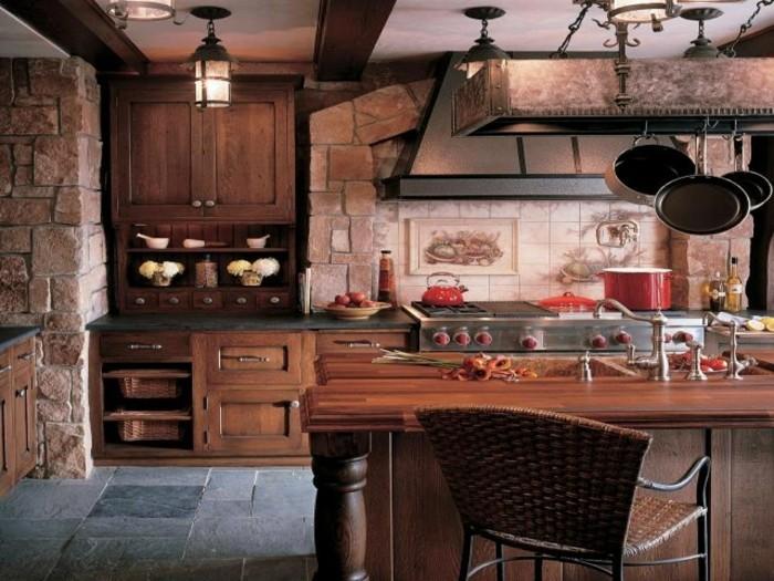 küchenmöbel rustikale küchenschränke steine bodenbelag