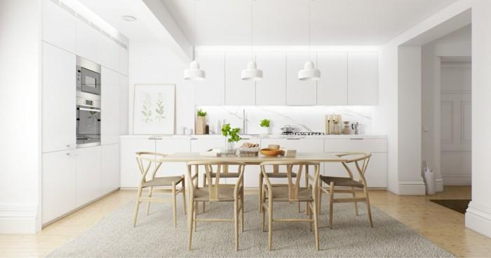 küchenmöbel weiße küchenschränke beiger teppich