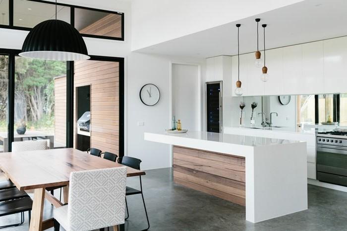 küchenmöbel weiße oberschränke ausgefallene kücheninsel essbereich