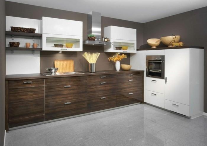 küchenmöbel weiße oberschränke braune unterschränke