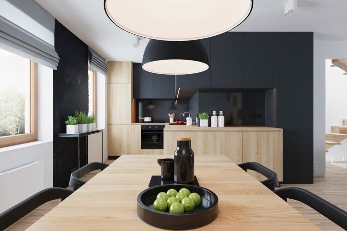 küchenschränke kaufen hölzerne unterschränke schwarze wände