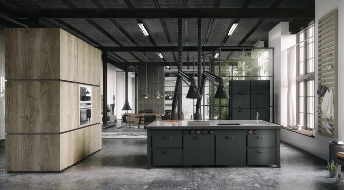 küchenschränke kaufen industrielle küche kücheninsel bodenbelag betonoptik