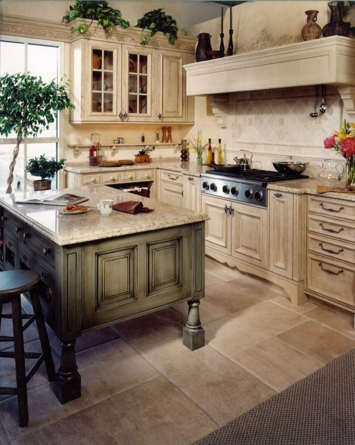 küchenschränke kaufen schicke wohnideen küche helle bodenfliesen pflanzen