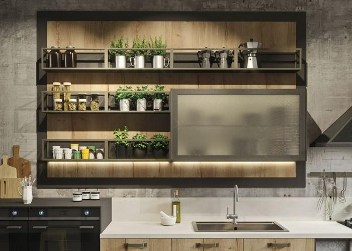 küchenschränke kaufen schiebetüren pflanzen wandgestaltung betonoptik