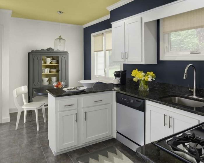 küchenschränke kaufen weiße schränke blaue wand blumendeko