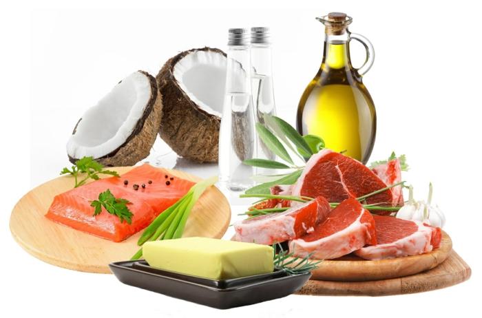 ketogene diät gesunde fette fettsäuren kokosfett olivenöl lachs butter fleisch