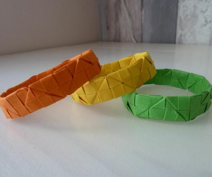 kreativ basteln armband farbig origami