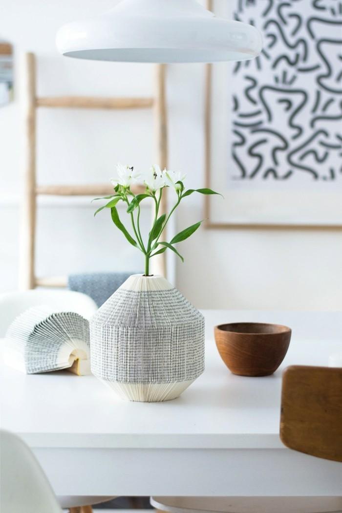 kreativ basteln ausgefallene vase buchseiten dekoideen
