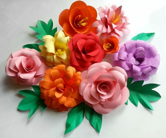 Awesome Kreativ Basteln Blumen Papier Farbig Dekoideen With Blumen Aus  Papier Falten.