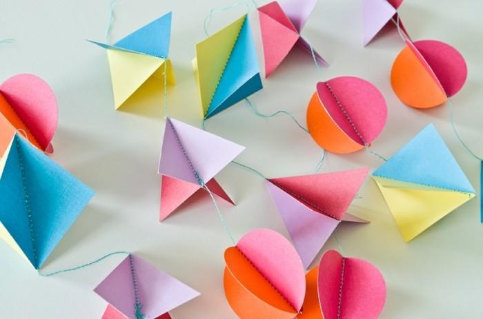 kreativ basteln dekoideen papier farbig kinderzimmer
