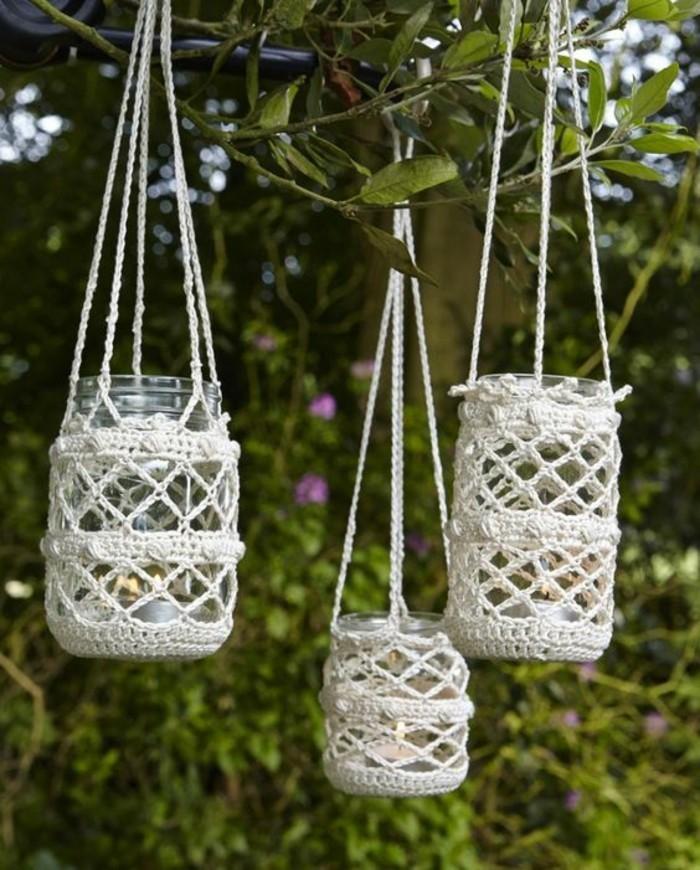 kreativ basteln einmachgläser aufhängen garten dekoideen