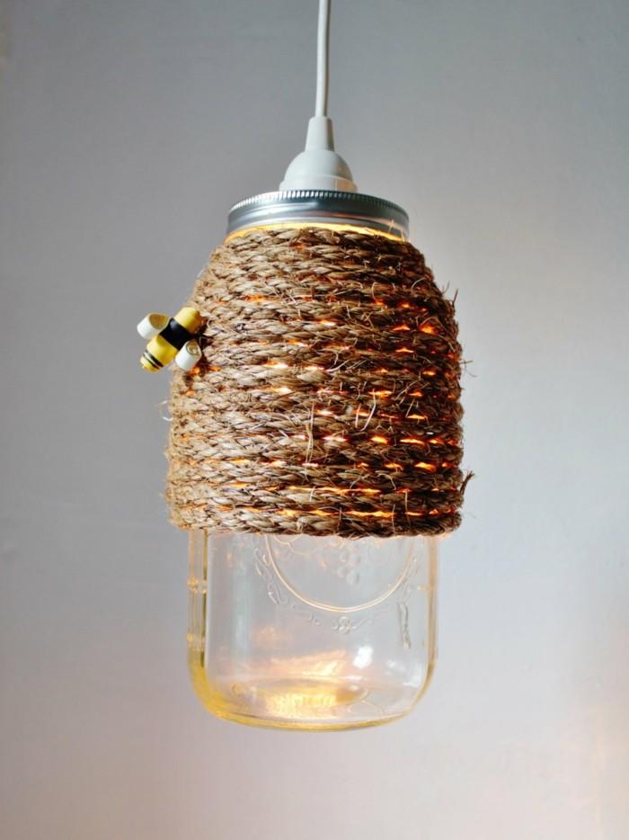 kreativ basteln einmachgläser ausgefallene lampe seil