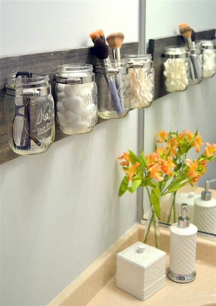 kreativ basteln einmachgläser badezimmer stauraum