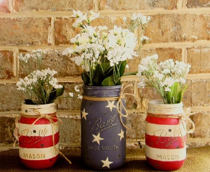 kreativ basteln einmachgläser blumen vasen