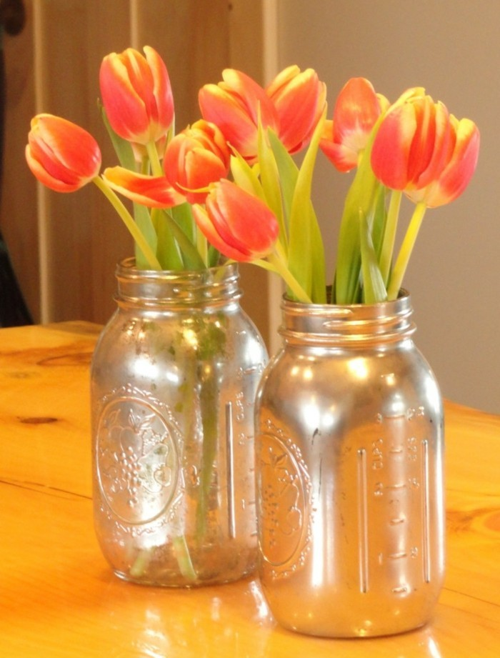 kreativ basteln einmachgläser blumenvase tulpen