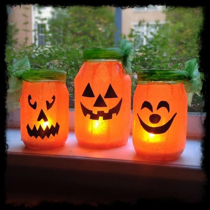 kreativ basteln einmachgläser laternen basteln halloween bastelideen