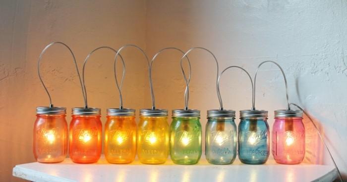 kreativ basteln einmachgläser licht wohnideen beleuchtung