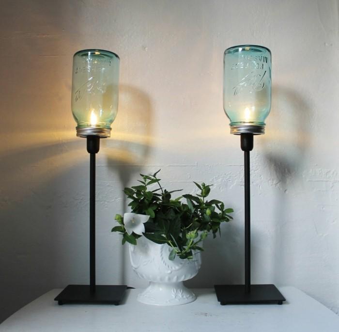 kreativ basteln einmachgläser tischlampen kreieren